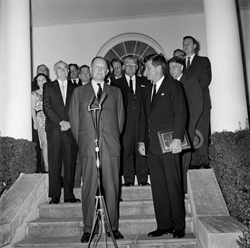 President John F. Kennedy and Secretary of the Treasury C. Douglas Dillon at the Welcoming Ceremony