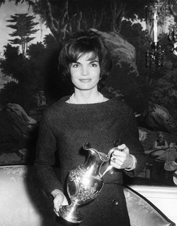 First Lady Jacqueline Kennedy Holds Silver Pitcher