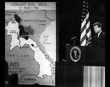 President Kennedy's News Conference of 23 March 1961, with mapboard used to illustrate Communist Rebel Areas in Laos.