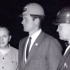 "JFKCAMP1960-PH-021 (crop):  Edward M. ""Ted"" Kennedy with Two Men (during John F. Kennedy's Presidential Campaign), Weirton Steel Company, Weirton, West Virginia, 21 April 1960"