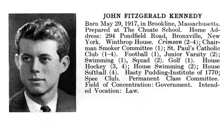 John F. Kennedy's 1940 Harvard yearbook entry.