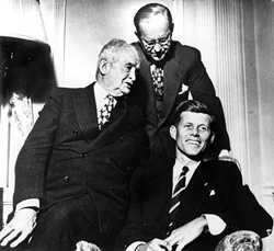 John F. Kennedy with father Joseph P. Kennedy Sr. and grandfather John F. Honey Fitz Fitzgerald