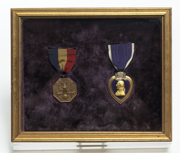 MO63.1941.1-.2  Lt. John F. Kennedy's WWII medals: Navy Marine Corps Medal and Purple Heart