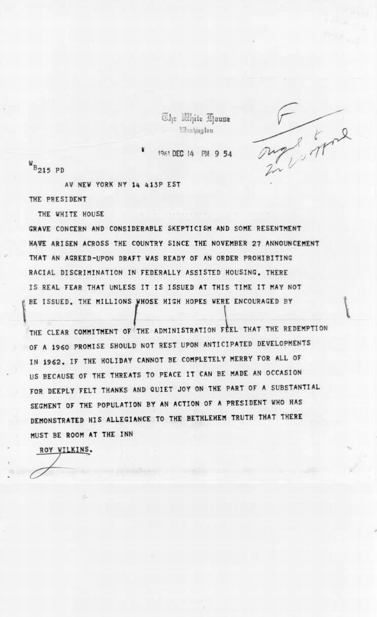 Roy Wilkins letters John F. Kennedy Presidential Library and Museum