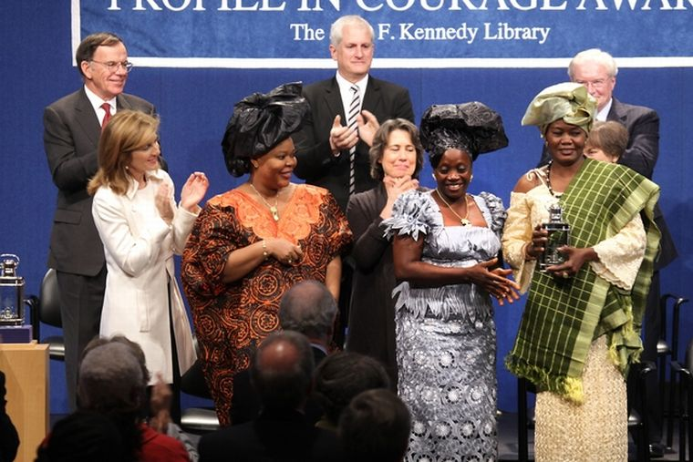 Caroline Kennedy pictured with the Women of Liberia: Leymah Gbowee, Viaba Flomo, and Janet Johnson Bryant