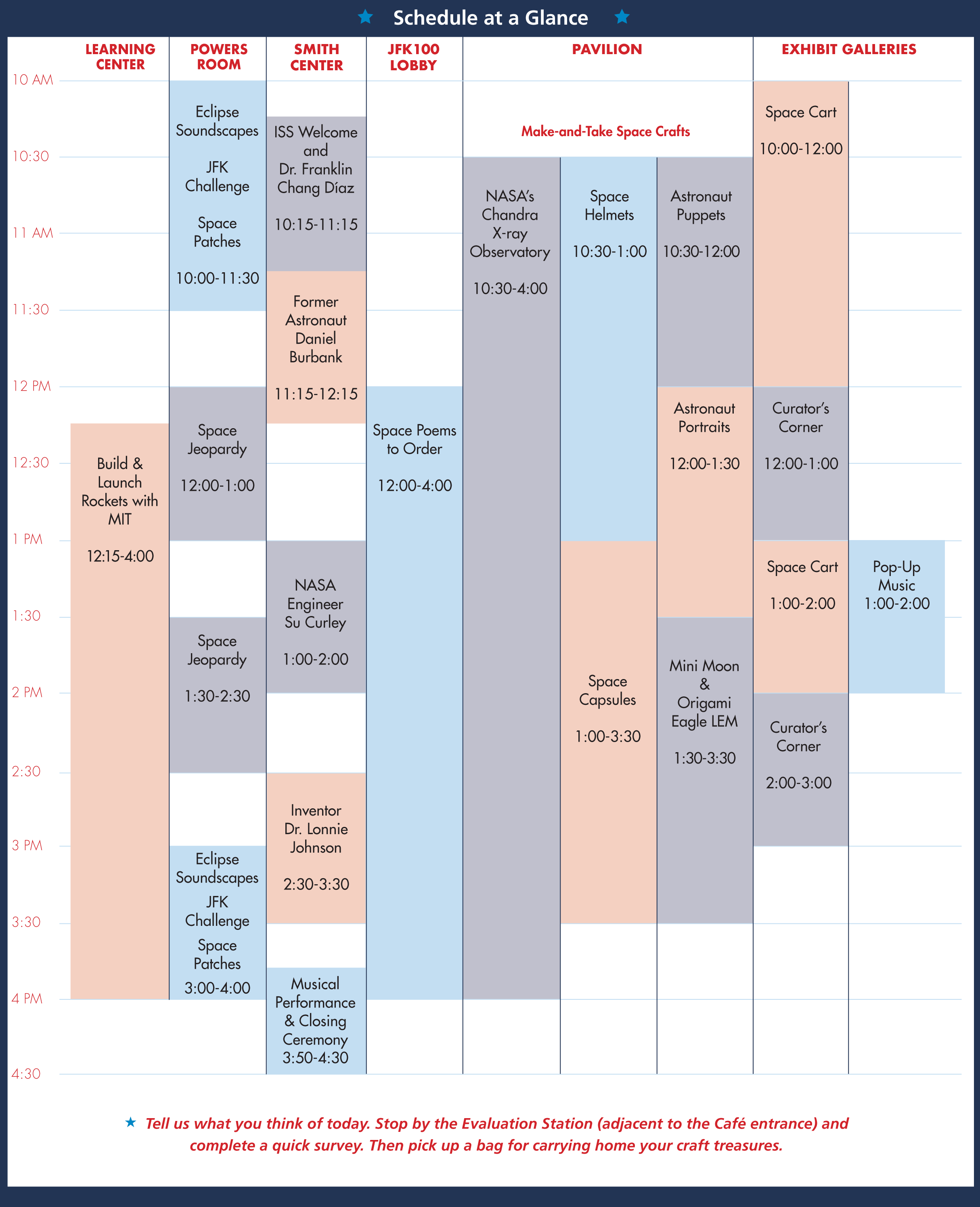 Image of JFK Space Fest Schedule at a Glance