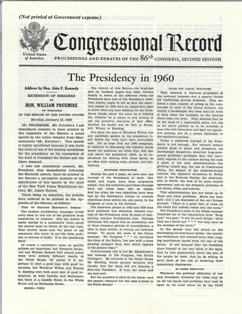 an analysis of the topic of the president kennedy