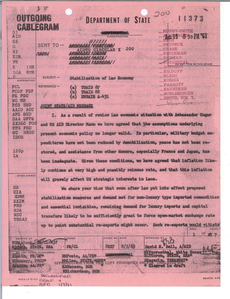 National Security Action Memoranda [NSAM]: NSAM 259, Aid