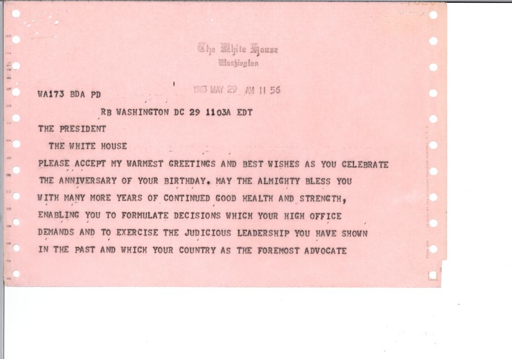 Birthday greetings 1963 john f kennedy presidential library museum view parent collection and finding aid m4hsunfo Choice Image