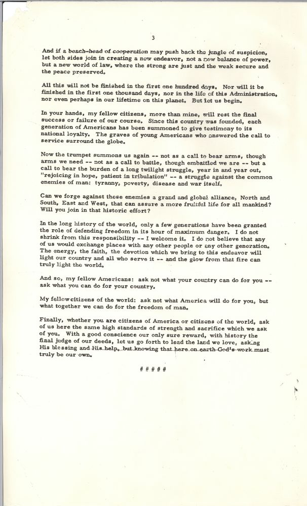 Help with thesis statement john f kennedy inaugural address