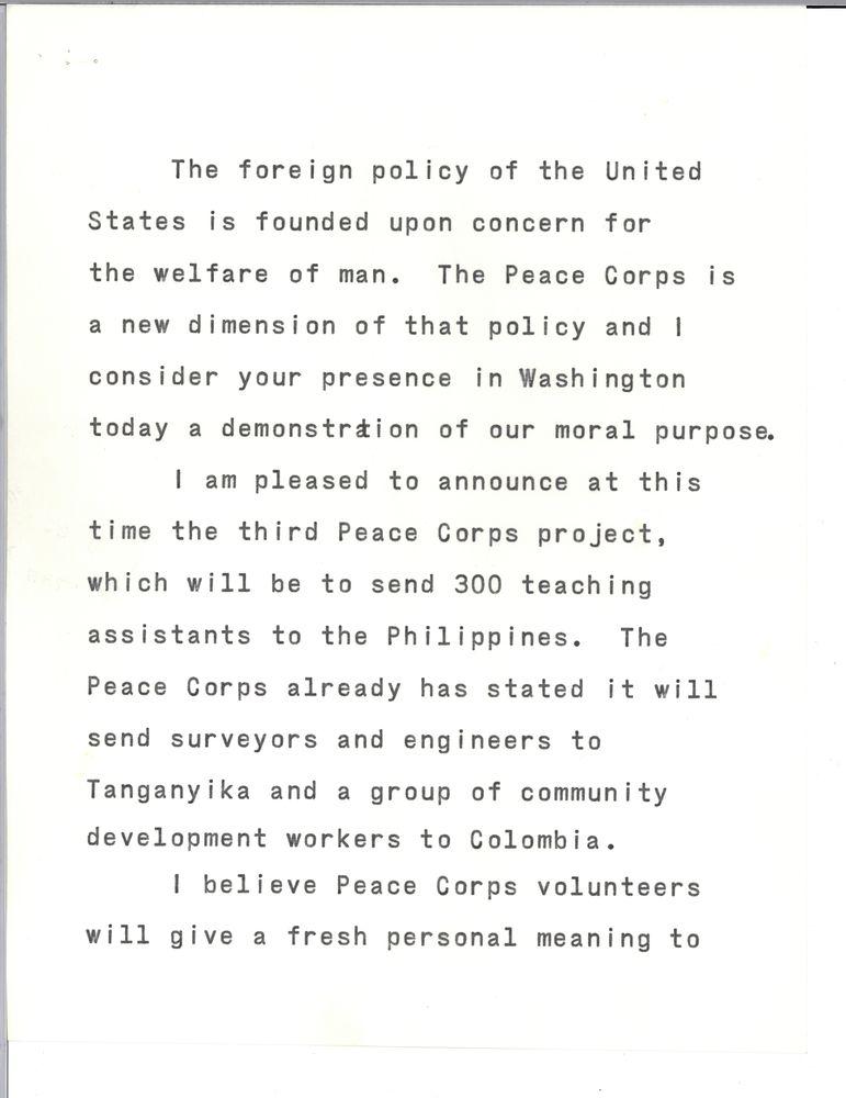 peace corp essay 1