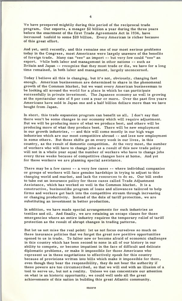 Address At Conference On Trade Policy 17 May 1962 John F Kennedy