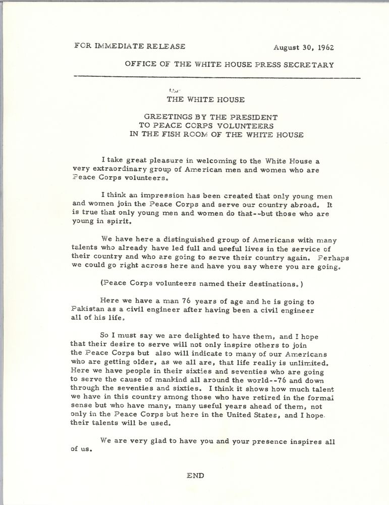 Remarks to peace corps volunteers 30 august 1962 john f kennedy view parent collection and finding aid m4hsunfo Choice Image