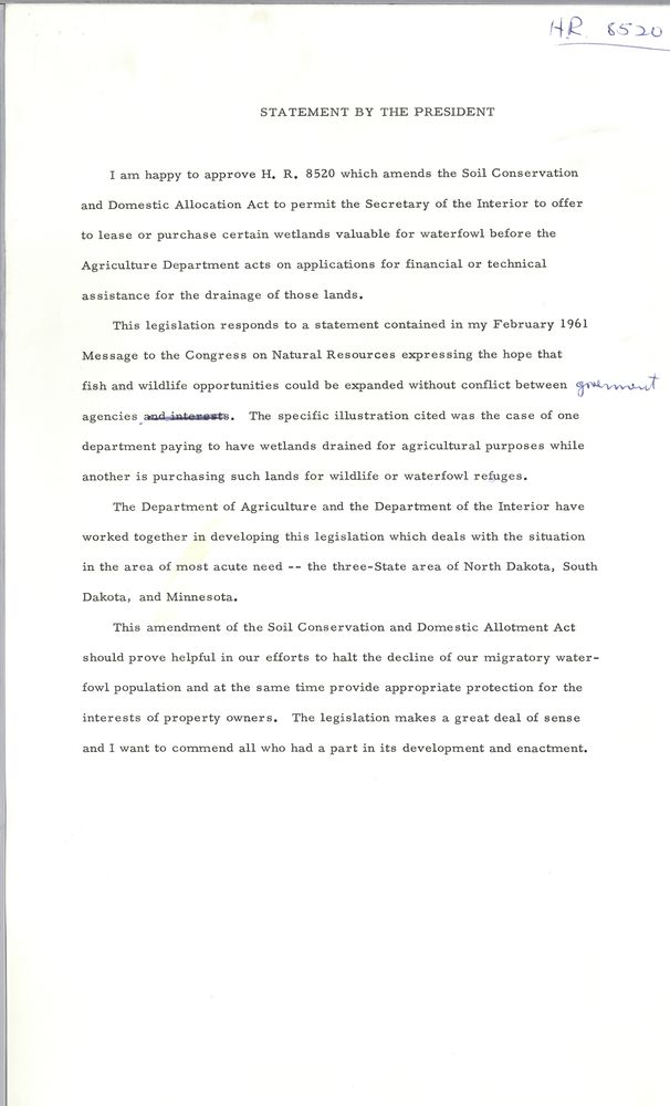 remarks on signing soil conservation and domestic allotment act view parent collection and finding aid