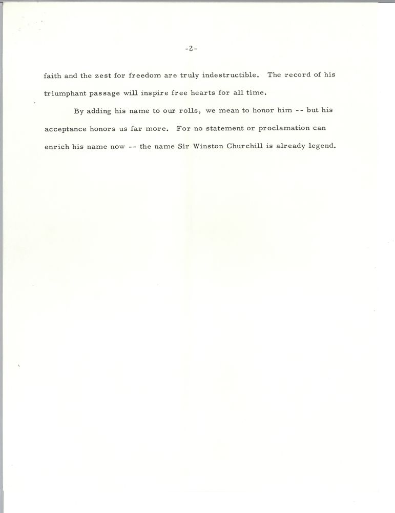 Remarks on signing honorary citizenship for Sir Winston Churchill, 9 ...