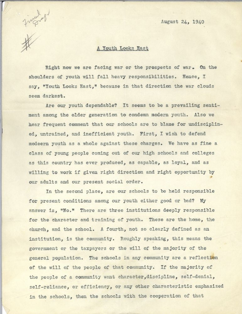 a youth looks east anonymous essay on why england slept john f  view parent collection and finding aid