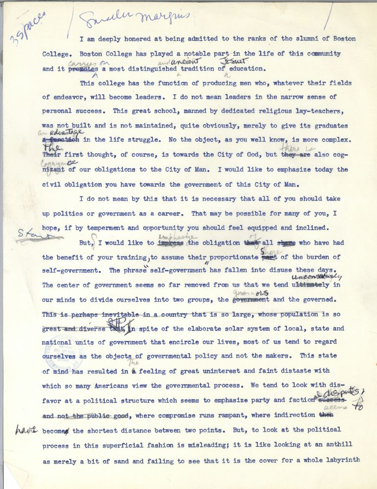 Boston College commencement address, 13 June 1956