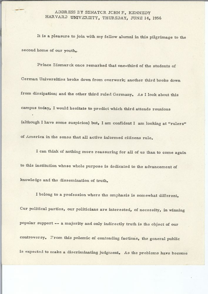 Harvard University, Cambridge, Massachusetts, 14 June 1956