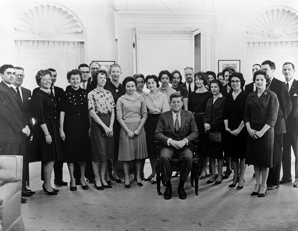 ST-22-1-61. President John F. Kennedy with White House Staff ...