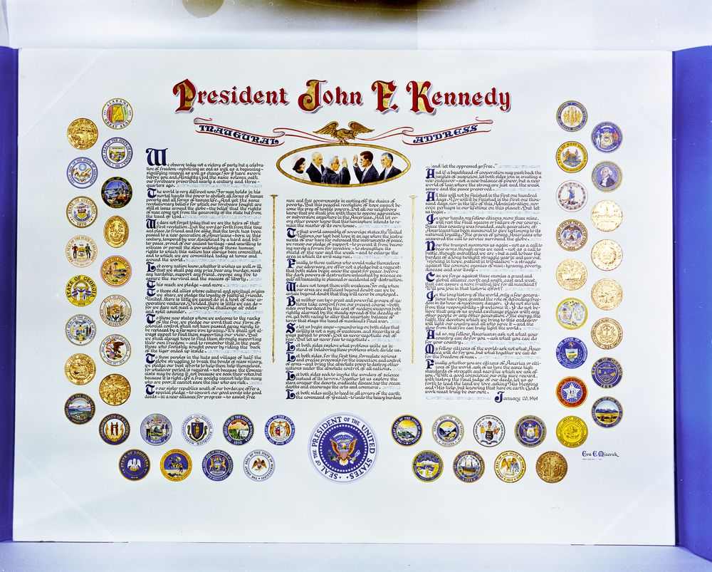 gift for president kennedy printed text of the inaugural address view parent collection and finding aid