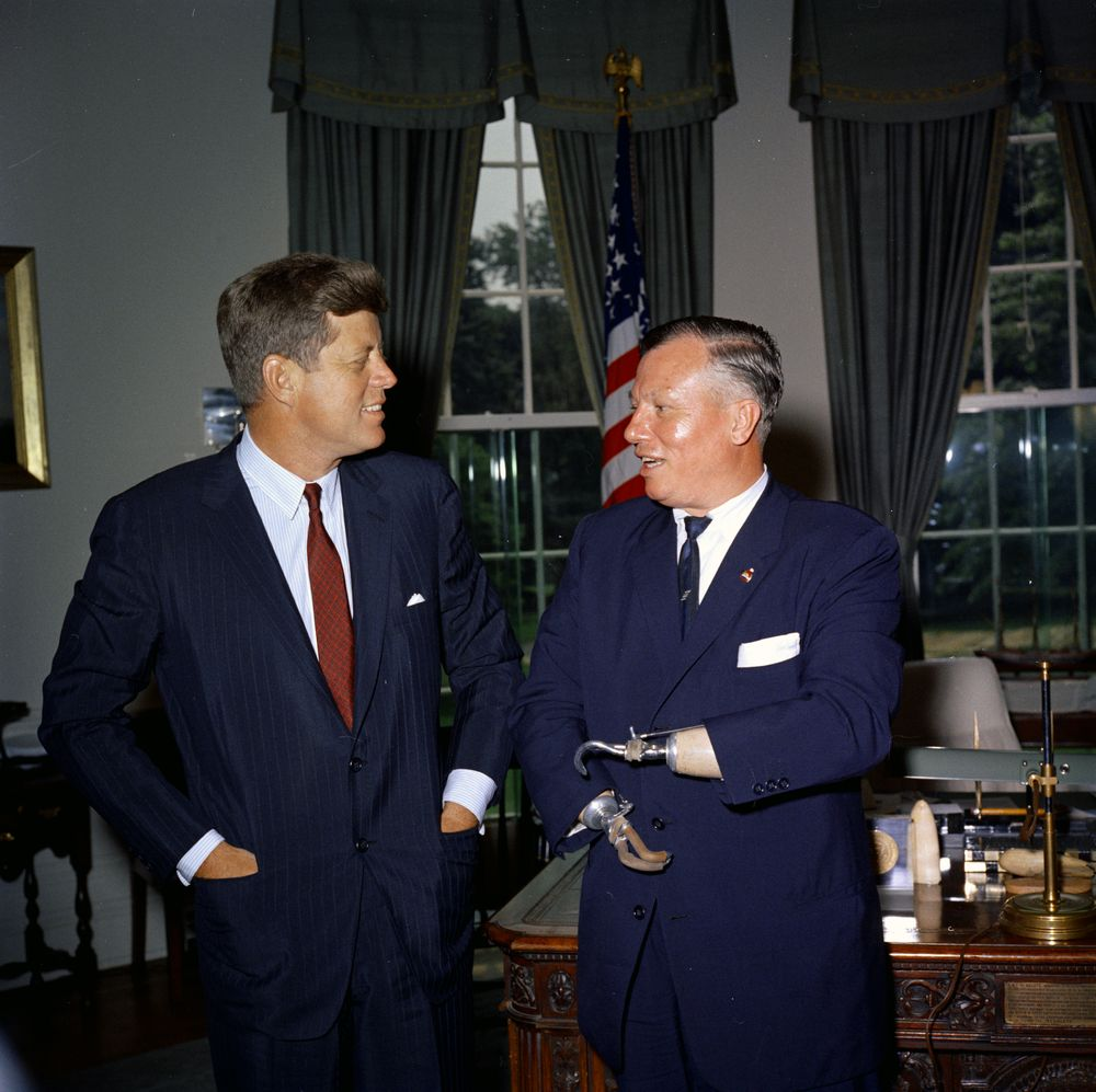 KN-C18560. President John F. Kennedy Meets with Harold Russell ...