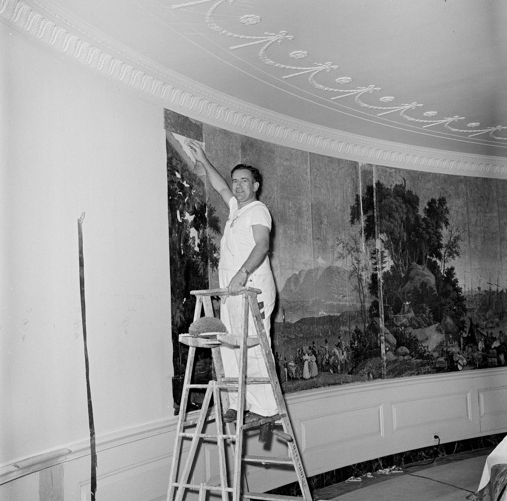 Hanging antique wallpaper in the Diplomatic Reception Room