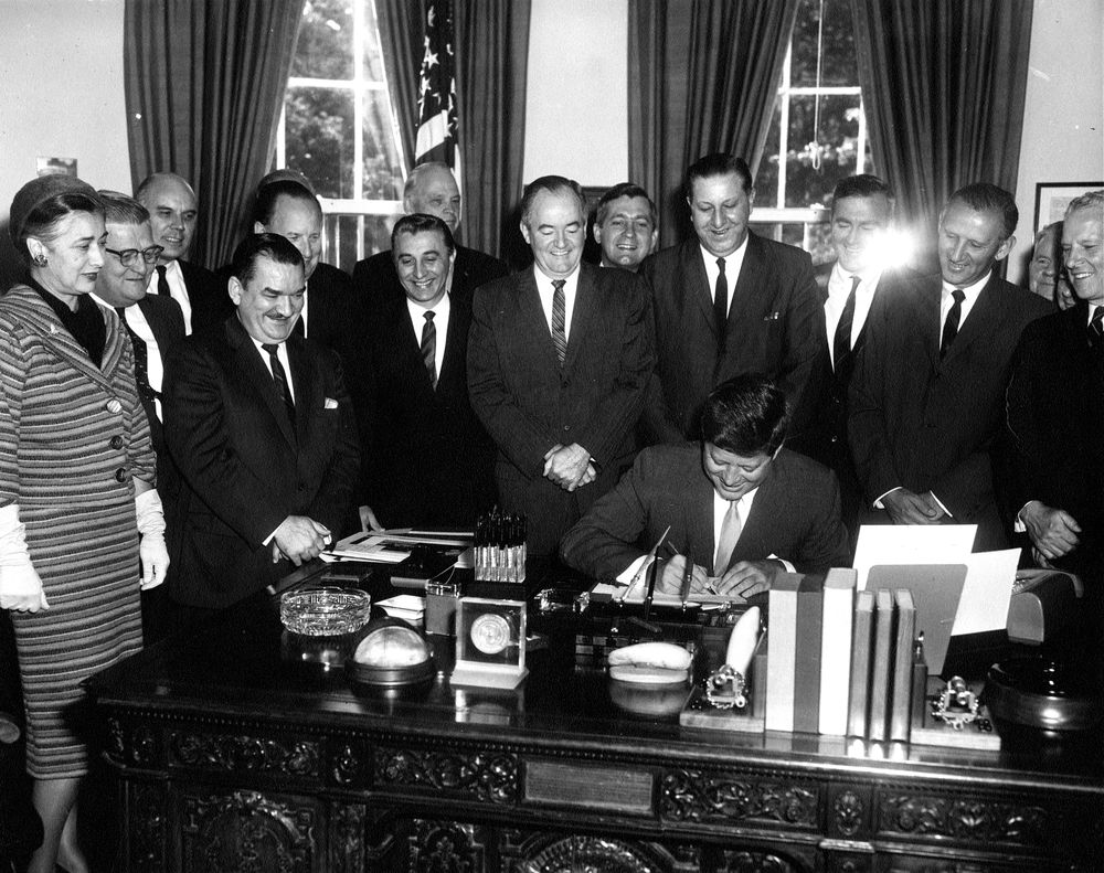 Bill signing - H.R. 7500 Public Law 87-293, Peace Corps ...