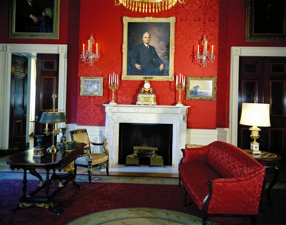 White house rooms blue green red rooms john f for The blue room