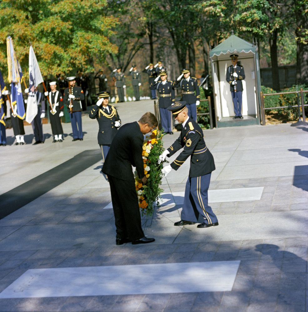 KN-C19410. President John F. Kennedy Lays a Wreath at the Tomb of the ...
