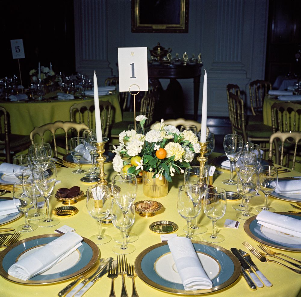 KN-C19446. Table Setting and Flower Arrangement for Private Dinner ...