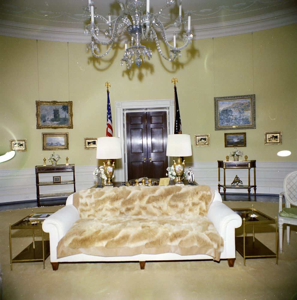 KN-C19638. Yellow Oval Room, White House - John F. Kennedy