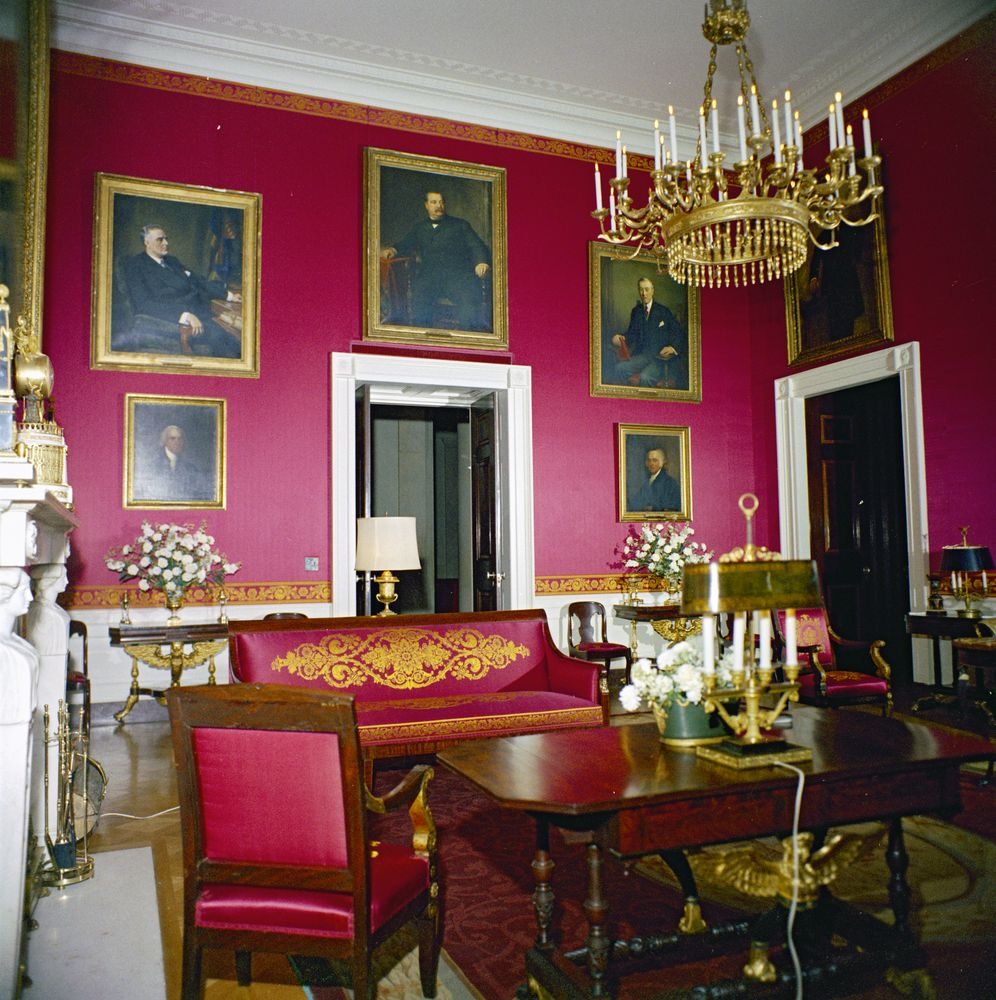 Kn C19728 Red Room Of White House John F Kennedy