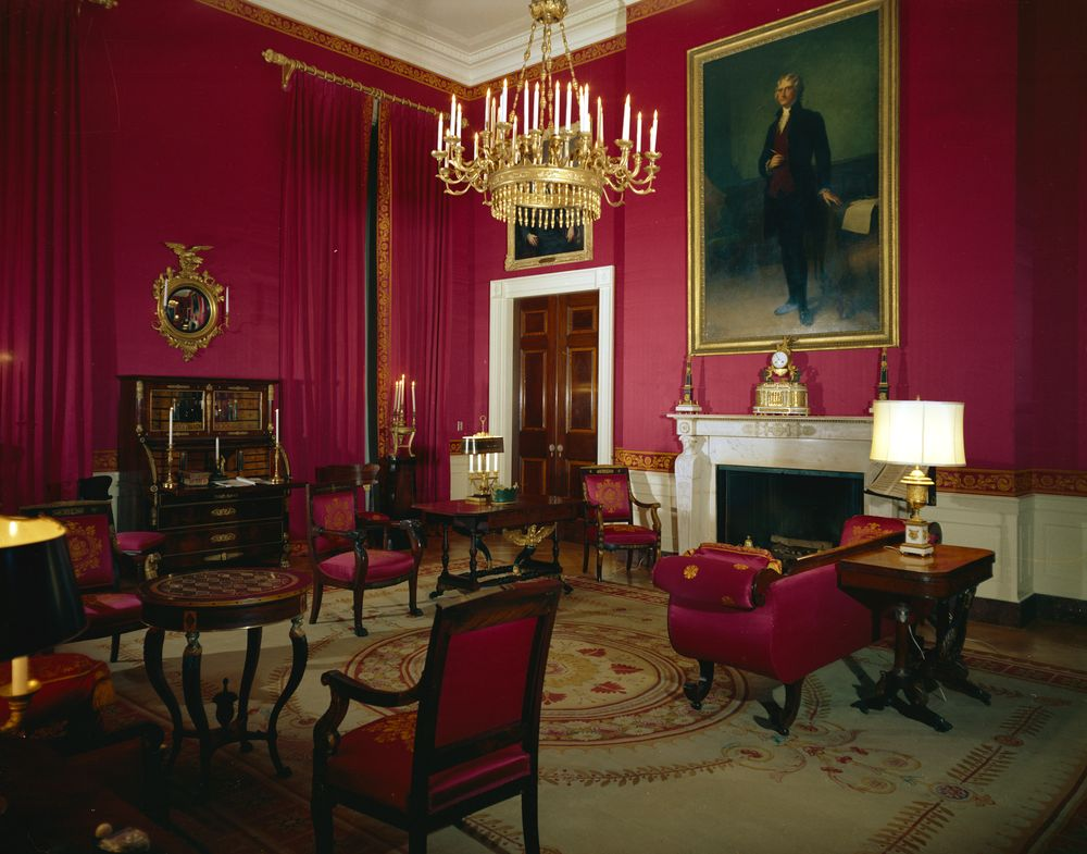 White house rooms red green monroe treaty state for Red dining room decor