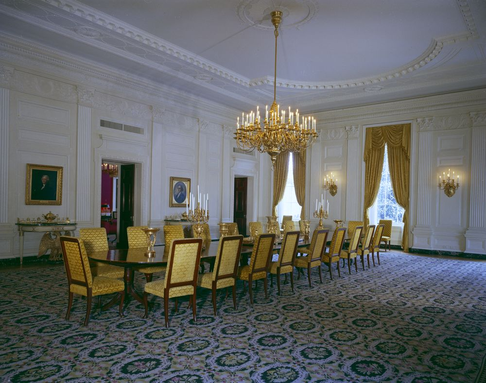 white house rooms state dining room john f kennedy presidential library museum. Black Bedroom Furniture Sets. Home Design Ideas