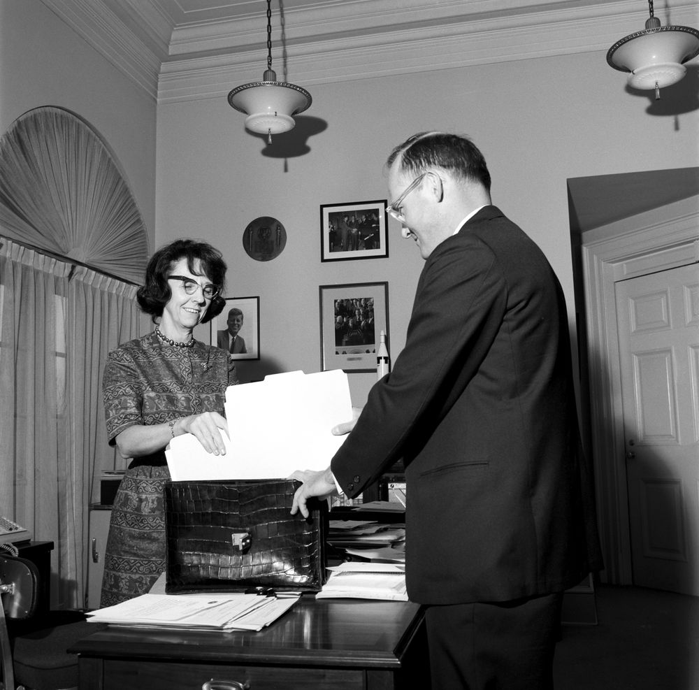 ST-71-4-62. Secretary Evelyn Lincoln and Special Assistant ...
