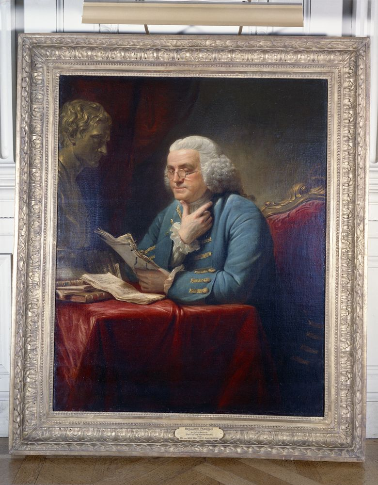 White House paintings: Benjamin Franklin by David Martin (1767) - John ...