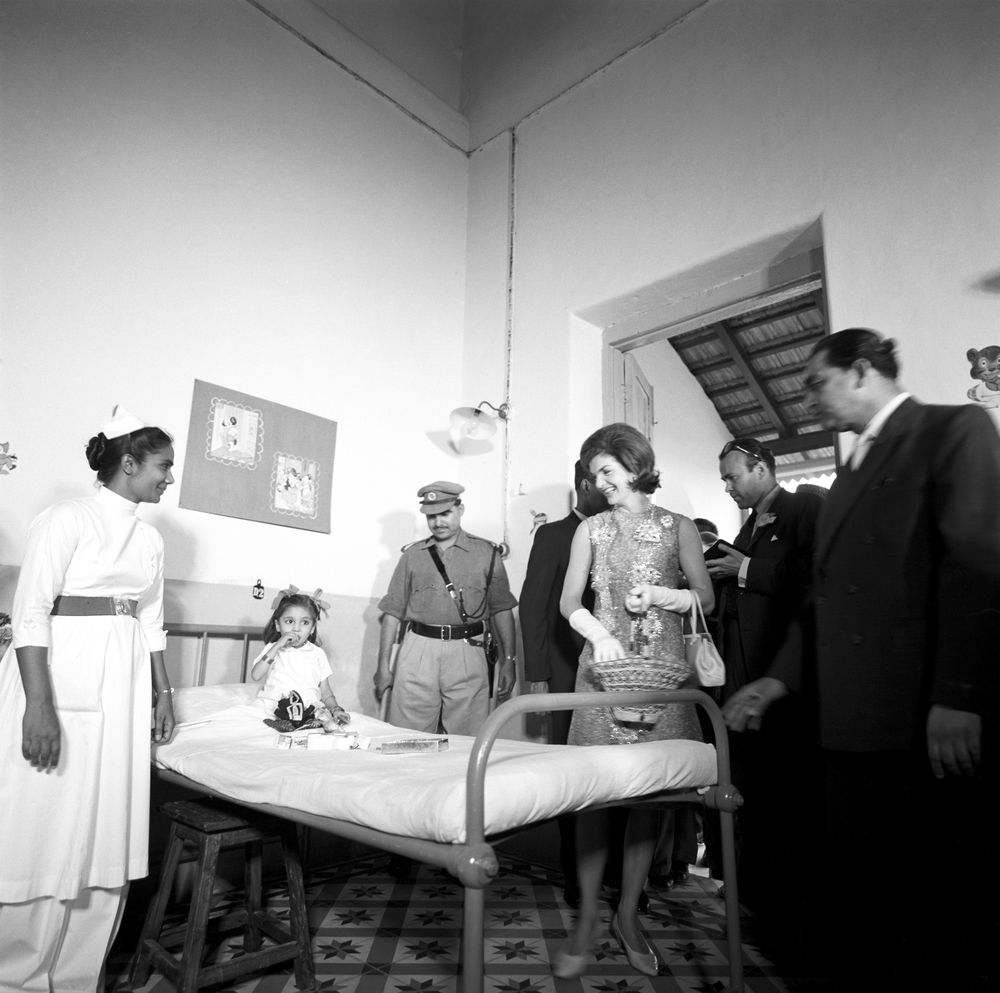 First Lady Jacqueline Kennedy's trip to India and Pakistan: Karachi, Sindh, Pakistan, visit to children's wing, Jinnah Central Hospital