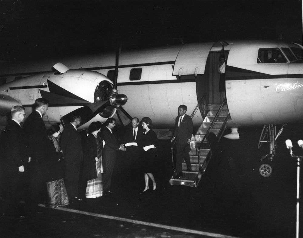 Group Greets First Lady Jacqueline Kennedy upon her Return from India and Pakistan