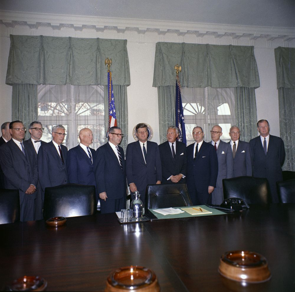 KN-C20907. President John F. Kennedy Meets with Executive ...