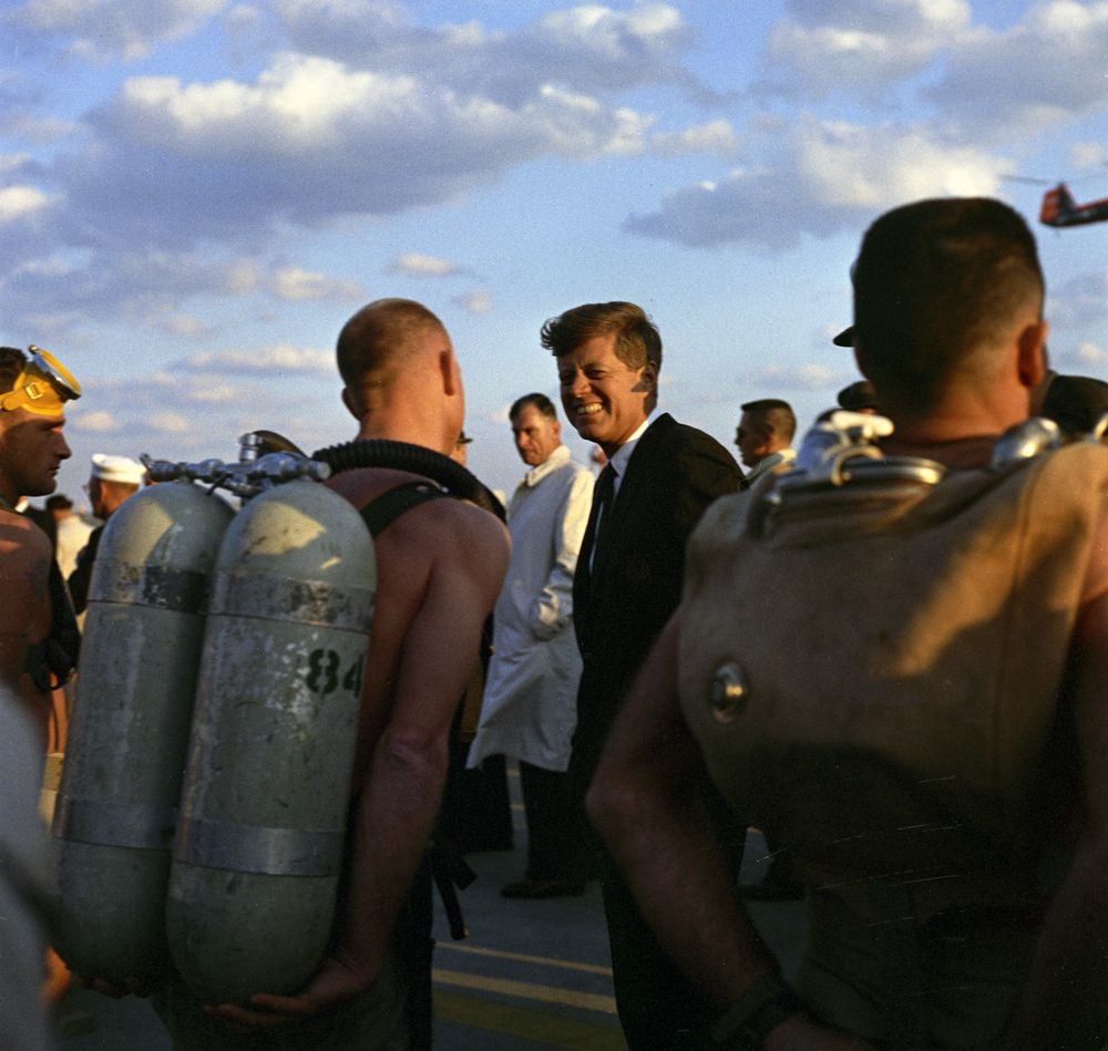 Visit to the Atlantic Fleet: President Kennedy greets SEALs