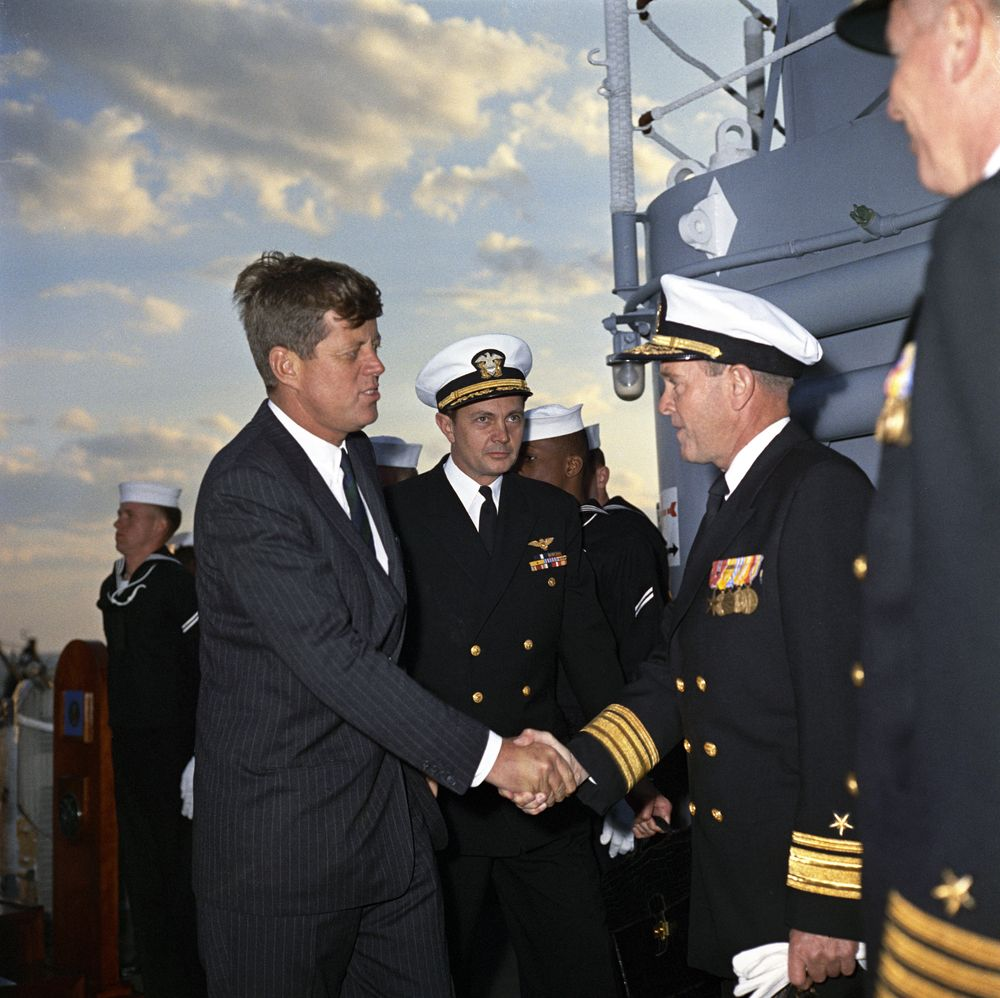 KN-C21120. President John F. Kennedy Boards the USS Northampton - John ...