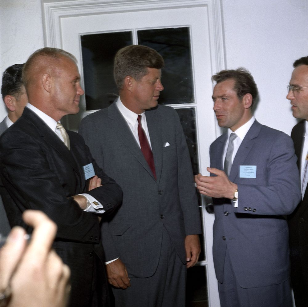 KN-C21478. President John F. Kennedy Visits with Astronauts Gherman ...