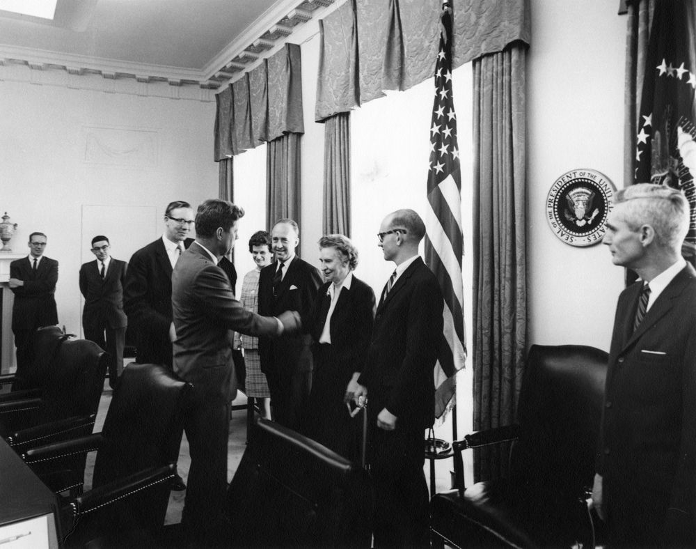 AR7225-B. President John F. Kennedy Greets Members of Council of ...
