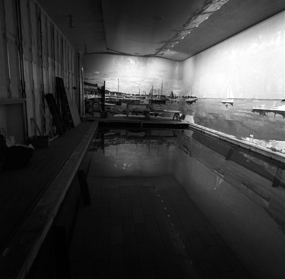 Harbor House Pool: ST-176-1-62. White House Swimming Pool Mural Progress