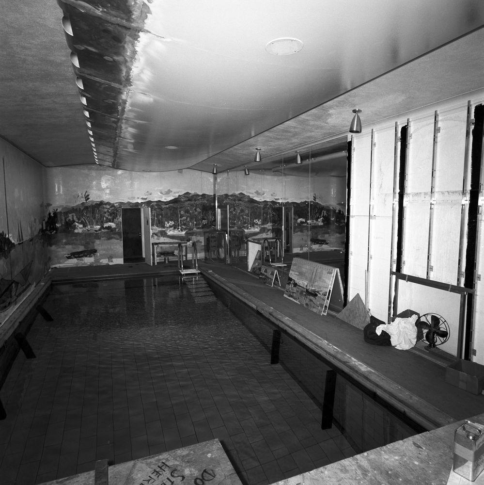 Harbor House Pool: ST-176-9-62. White House Swimming Pool Mural Progress