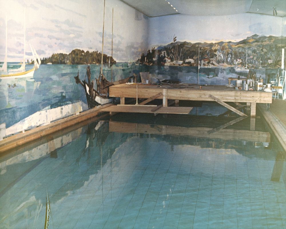 St c174 9 62 white house swimming pool mural progress john f kennedy presidential library for Does the white house have a swimming pool
