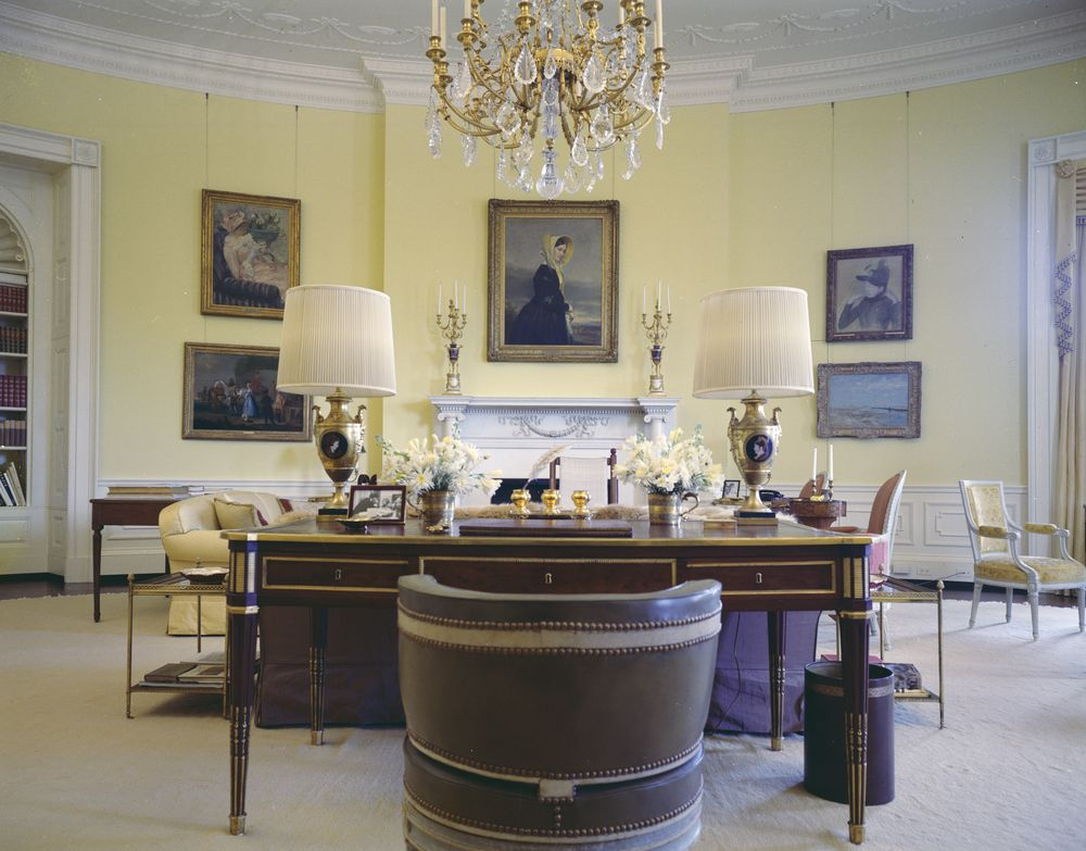Kn C21631 Yellow Oval Room White House John F Kennedy