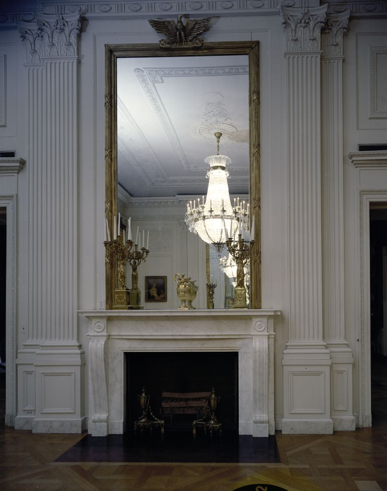 KN-C21636. East Room Fireplace, White House - John F. Kennedy ...
