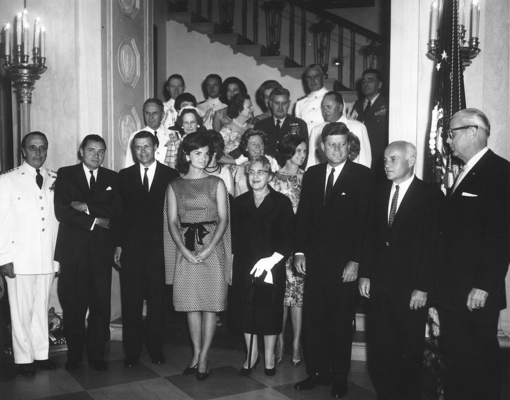 AR7242-A. President John F. Kennedy at White House Military Reception ...