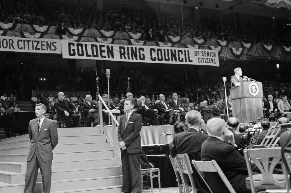 St 215 6 62 President John F Kennedy Speaks At Senior Citizens Rally In Madison Square Garden